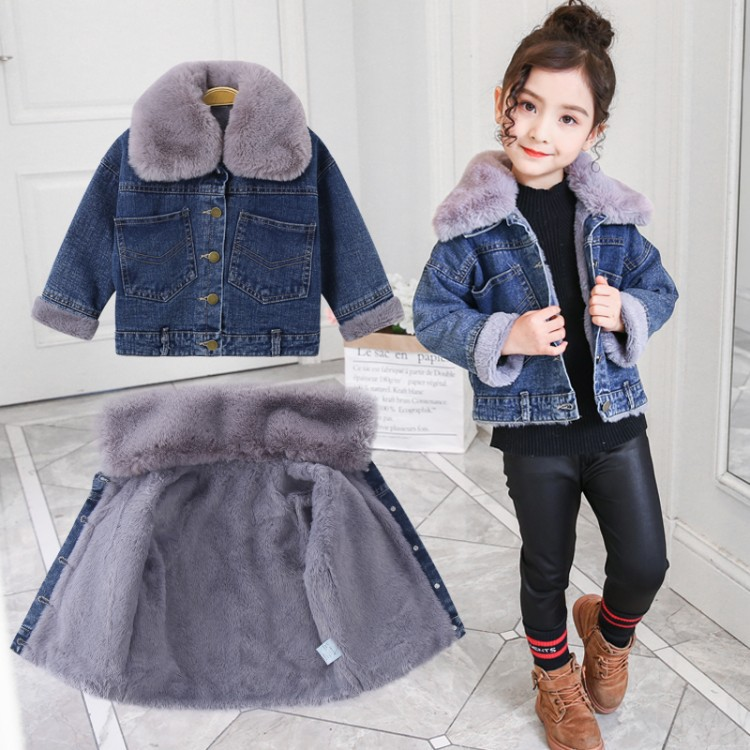 Anlencool Girls cowboy plus velvet jacket autumn and winter 2018 new Korean children thick denim coat girls childrens clothingAnlencool Girls cowboy plus velvet jacket autumn and winter 2018 new Korean children thick denim coat girls childrens clothing