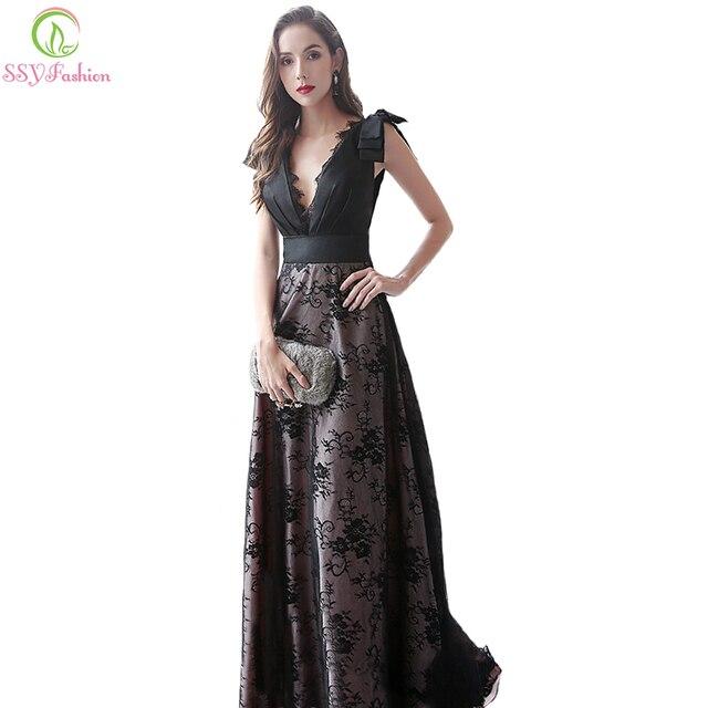 SSYFashion New Vintage Elegant Black Prom Dress Banquet Deep V neck ...