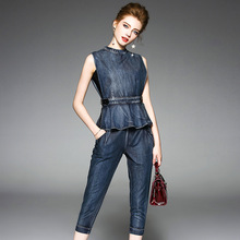 2017 Runway Denim Two Piece Set Women s Ruffles Casual Blouses Top Wide Leg Pants Office