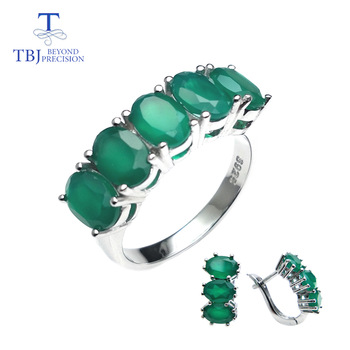 TBJ,natural green agate jewelry set ring and earring in 925 sterling silver fine jewelry for women daily wear as Valentine gift