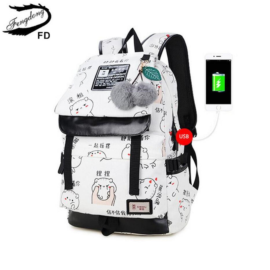 цена FengDong female fashion letters printing backpack usb bag for laptop women travel bags white canvas school backpack for girls