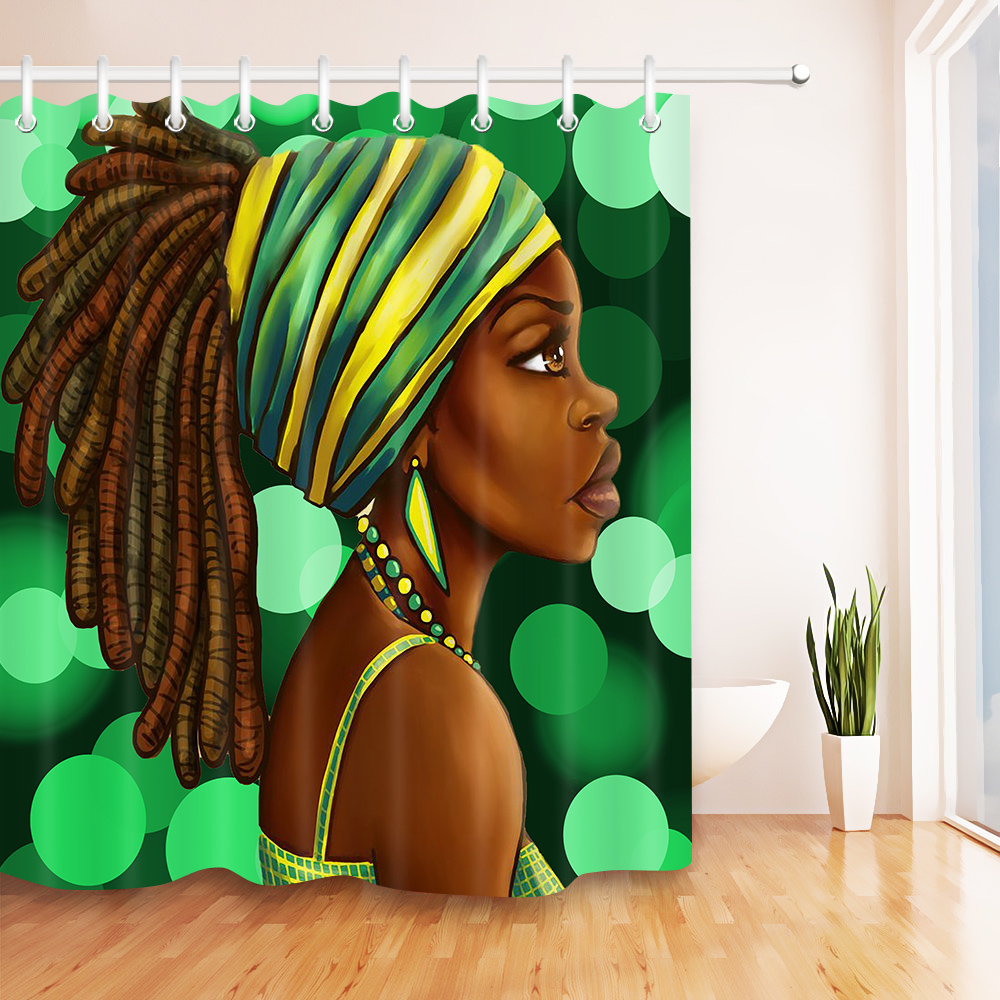 African American Woman Shower Curtain Afro Hairstyle Black Girl Bathroom Waterproof Polyester Fabric For Bathtub Decor