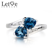Leige Jewelry Wedding Ring London Blue Topaz November Birthstone Ring Trillion Cut Blue Gemstone 925 Sterling Silver Ring Gifts