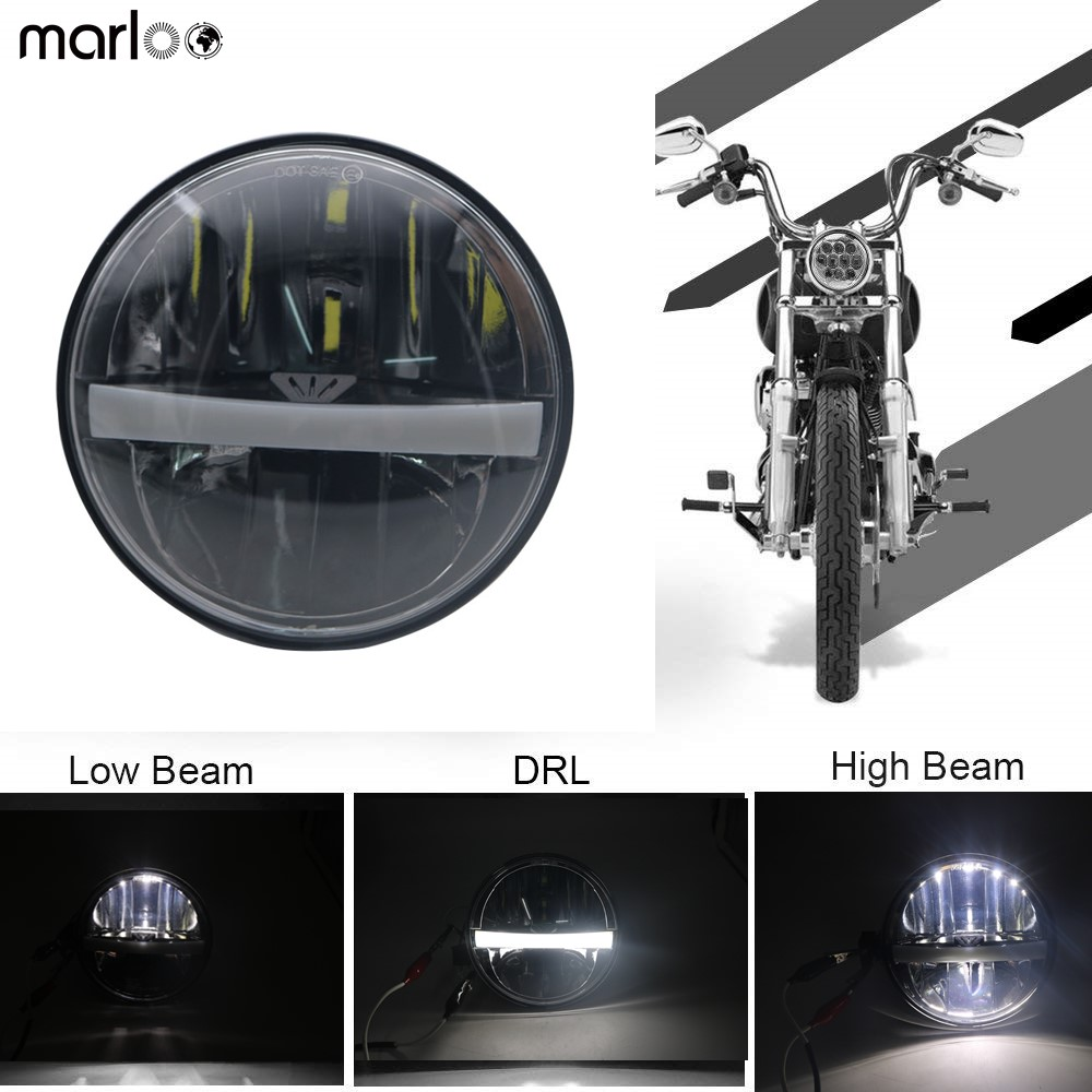 Marloo 5 3/4 5.75 LED Headlight Harley Motorcycle Sportster 883 Iron Dyna Street Bob Nightster Night Rod Headlamp With DRL цена и фото