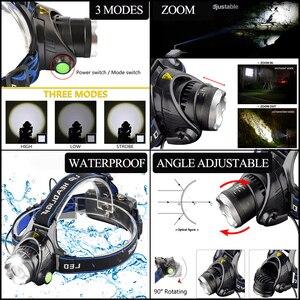 Image 3 - 3800LM Head lamp LED Headlight T6 Head lights headlamps + Q5 Mini flashlight 2000lm Zoomable Zaklamp Taschenlampe