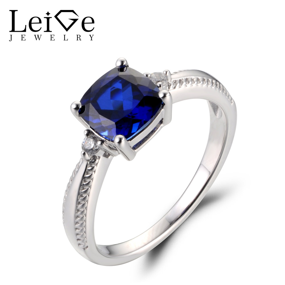Leige Jewelry Lab Blue Sapphire Gemstone September Birthstone Cushion Cut Prong Setting Engagement Carve Rings For WomanLeige Jewelry Lab Blue Sapphire Gemstone September Birthstone Cushion Cut Prong Setting Engagement Carve Rings For Woman