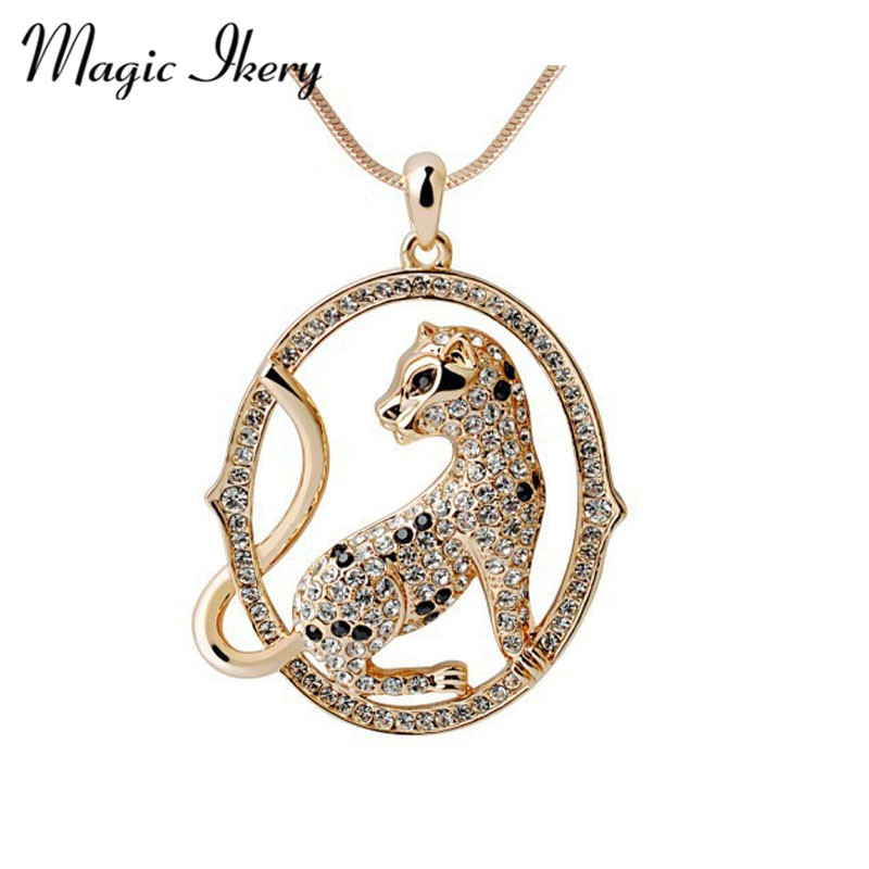 Crystal necklace Bohemian long necklace Leopard sweater chain necklaces pendants Fashion Jewelry for women MK00028