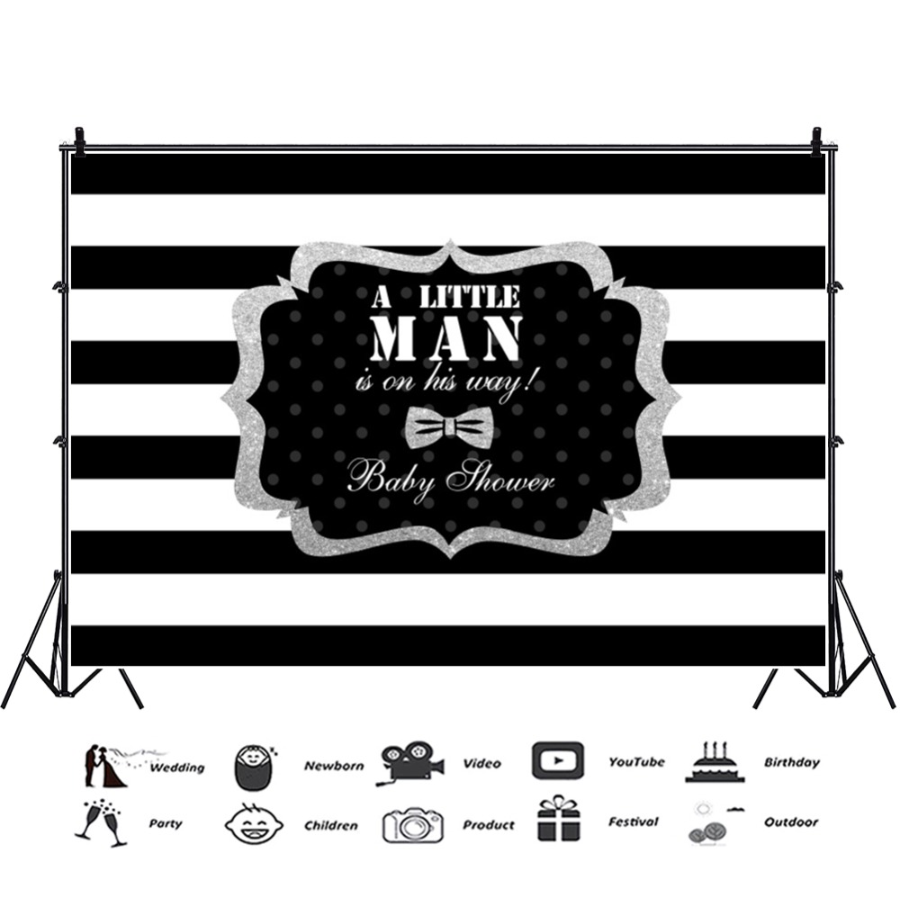 Laeacco Baby Shower Backdrops A Little Man Is On His Way White Black Stripes Party Photographic Backgrounds For Photo Studio in Background from Consumer Electronics