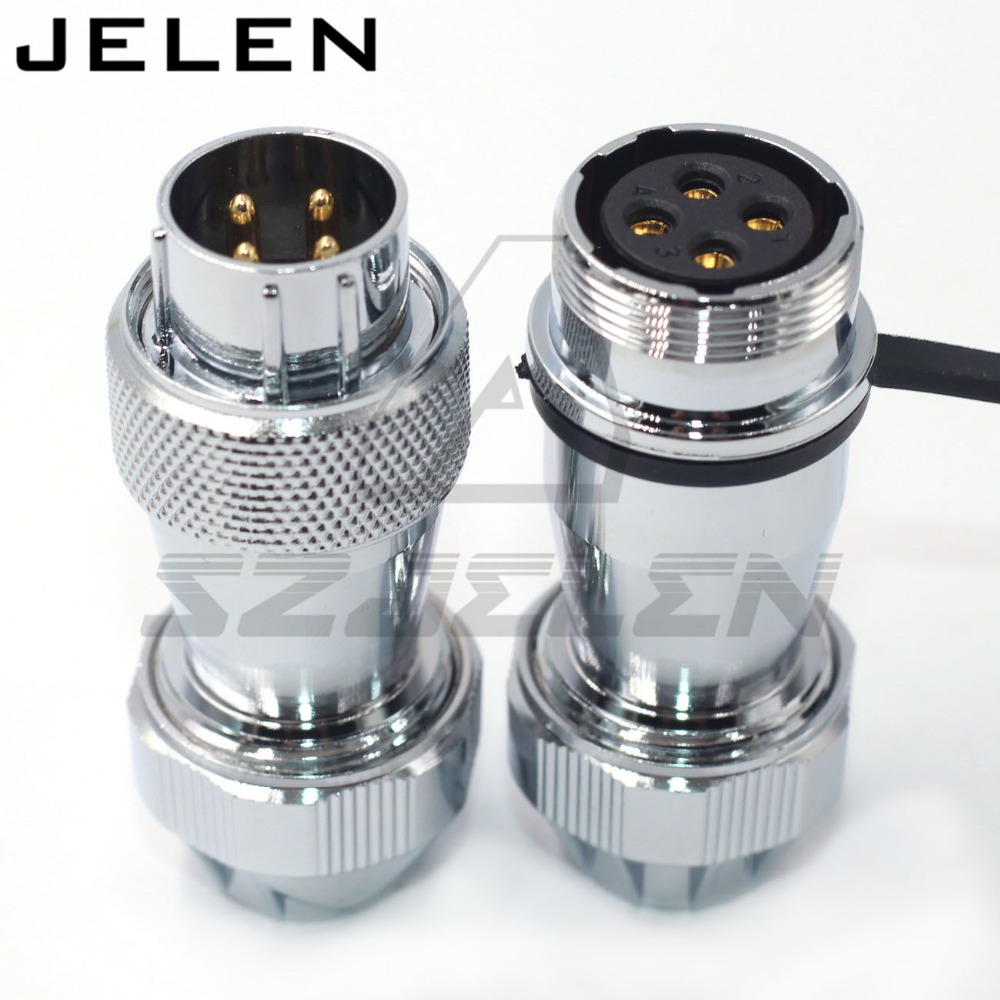 WS20 series waterproof connector 4pin male and female  IP67 25A  Industrial equipment power cable wire connector plug and socke|Connectors| |  - title=