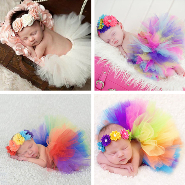 Rainbow!Newborn Photography Props Infant Costume Outfit Princess Baby Tutu  Skirt Headband Baby Photography Prop With Real Photo b4c5b5a421e