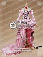 Anime Chobits Chii Cosplay Costume Pink Beauty Party Dress Outfit Dress Sleeves Neck Ribbon