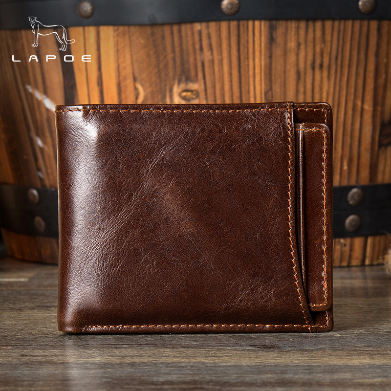 LAPOE Genuine Leather Wallets Men Wallets Clutch Fashion Short Wallet Small Male Purse Vintage Male Wallet Card Holder Coin Bags westal genuine leather men wallets leather man short wallet vintage man purse male wallet men s small wallets card holder 8866
