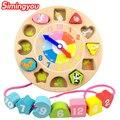 Simingyou Цифровой Животных Струн Развивающие Игрушки Форма Соответствия Когнитивные Строительные Блоки Часы Дети WRB67