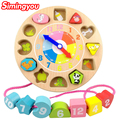 Simingyou Digital Animal Stringing Educational Toys Shape Matching Cognitive Building Blocks Clock Children WRB67