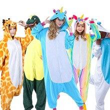Купить с кэшбэком Wholesale Flannel Animal Pajamas Set Giraffe Stitch Unicorn Pikachu Costume Cosplay Onesies Sleepwear For Adult Unisex Men Women