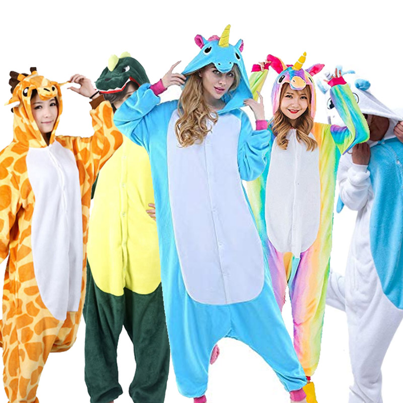 Greywalnut Halloween Autumn Winter   Pajama     Sets   For Women Cartoon Animal Panda Unicorn Stitch Flannel Sleepwear