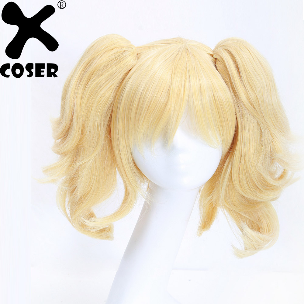 XCOSER Arkham City Harley Quinn Cosplay Golden Yellow Hair Halloween Festival Casual Party Cosplay Prop Costume Accessories Wigs