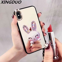 XINGDUO Phone Case For iPhone 6S 6 7 8 Plus X Acrylic Mirror Jewelled  for iphone XS XR MAX Glitter cute white rabbit cover