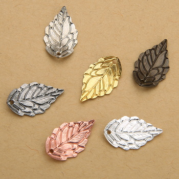 50pcs/lot Gold Silver Color 10*18mm Copper Leaf Bead Caps Leave Filigree Loose Spacer End For DIY Jewelry Making