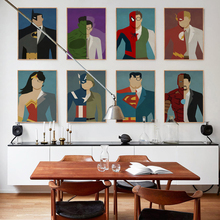 дешево!  Супермен Герой Wall Art Холст Картины Плакаты И Принты Мультфильм Бэтмен Nordic Плакат Настенные