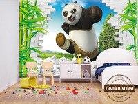 Custom 3d kids boys cartoon wallpaper mural kongfu panda in bamboo forest tv sofa children bedroom living room background