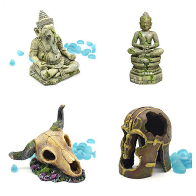 Hars Aquarium Decoratie Retro Seated Olifant Boeddha God Egyptische Farao Piramide Desert Thema Ornament Huisdier Aquarium Decor