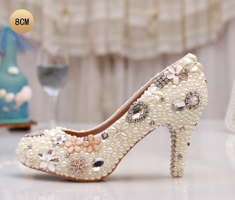 8 cm to 14 cm stone handmade Bride shoes in cream color