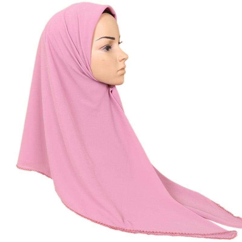 27 Color 115*115Cm Plain Solid Square Lace Chain Bubble Chiffon Shawl Ladies Fashion Scarves And Wraps Hijab Muslim Bonnet Caps