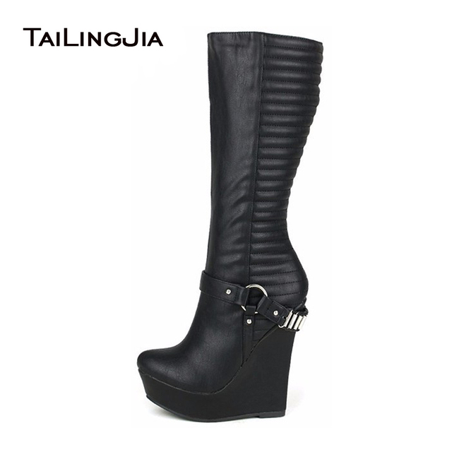 Womens Platform Wedge Heel Round TOe New Winter Knee High Boots Shoes ALL US Sz
