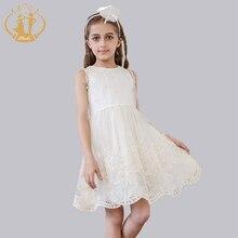 Girls Dress 2016 Designer Children Prom Party Birthday Wedding Ceremonies Gowns Champagne Lace Chiffon Princess Dress