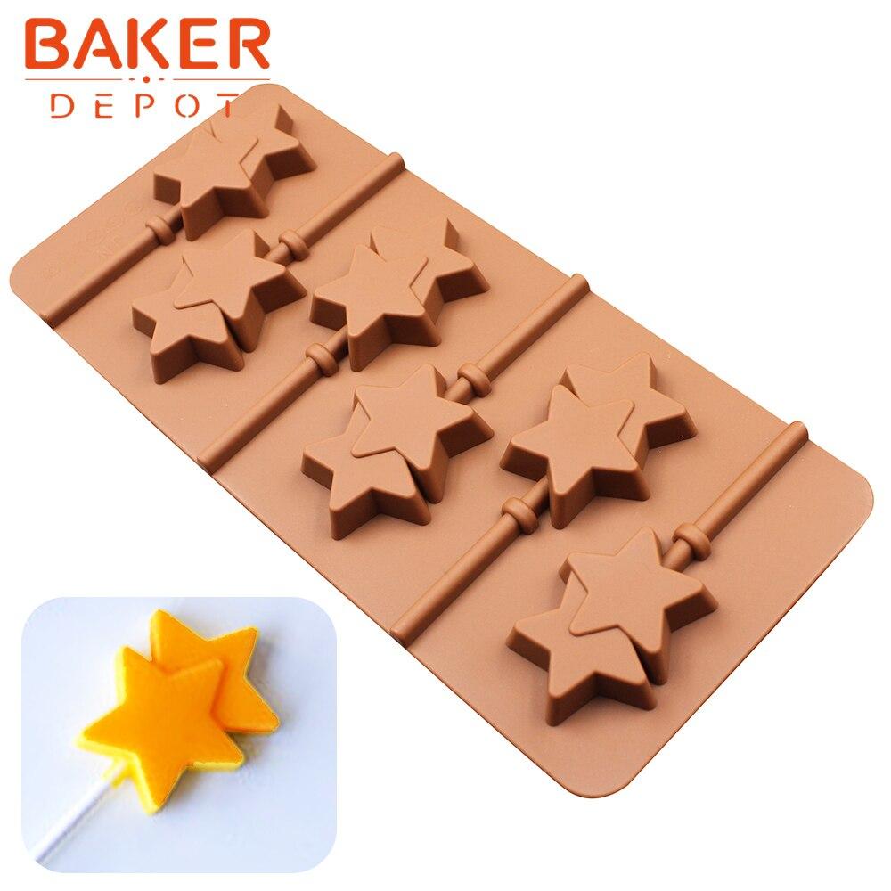 Forma de estrella molde de paleta de silicona molde de caramelo de chocolate para hornear herramientas para hornear herramientas 6 agujeros pastel decorado molde con palo de plástico