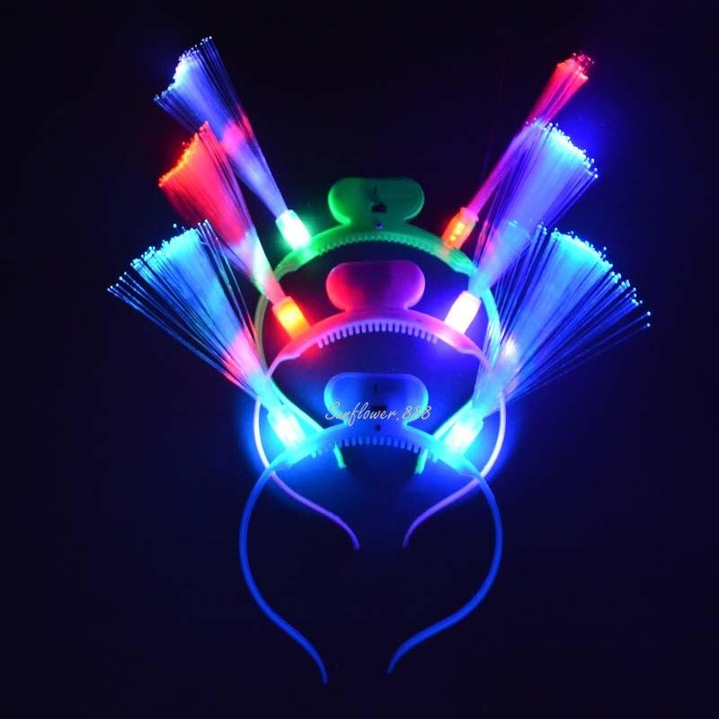 12pcs lot Flashing LED optical fiber headband light Glow party for KTV Bar disco show kid