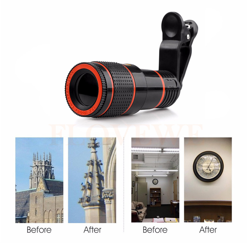 12x Zoom Telephoto Lens Telescope Phone Camera Lenses For iPhone 4S 5 5s SE 6 6s 7 Plus Smartphone Cell Phone Lentes With Clips