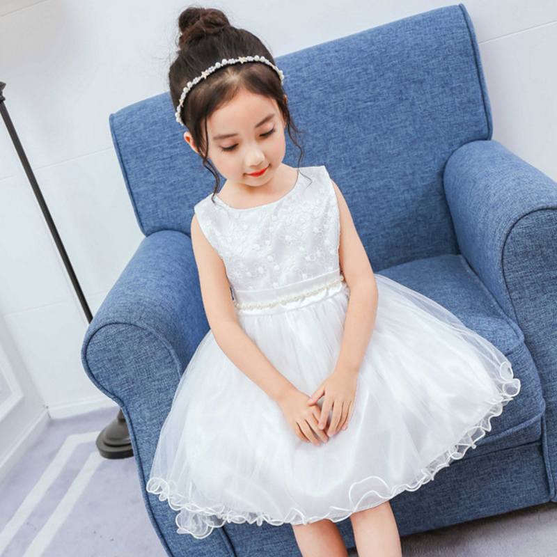 Pink White Girls Dresses Children Ball Gown Lace Princess Party Dress for Girl Solid Sleeveles Dress Baby Kids New Clothes erapinky girl dress kids girls backless dress bow lace ball gown party dresses easter dress for girls 8year old child clothes