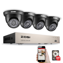 ZOSI 8CH الأمن نظام الكاميرا HD TVI 1080N فيديو مسجل دي في أر 1 تيرا بايت HDD مع 4x HD 1280TVL 720P داخلي في الهواء الطلق كاميرات الدوائر التلفزيونية المغلقة