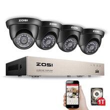 ZOSI 8CH System kamer bezpieczeństwa HD TVI 1080N wideo nagrywarka dvd 1TB dysk twardy z 4x HD 1280TVL 720P wewnątrz na zewnątrz kamery CCTV