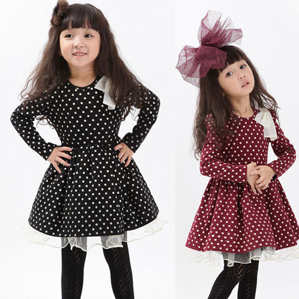 112597db558a1 New 2014 Spring Winter Kids Girl Baby Clothing Girls Solid Dot Princess  Party Dresses Kids Full