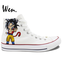 Wen Anime White Hand Painted Shoes Dragon Ball Men Women's High Top Canvas Sneakers for Christmas Gifts