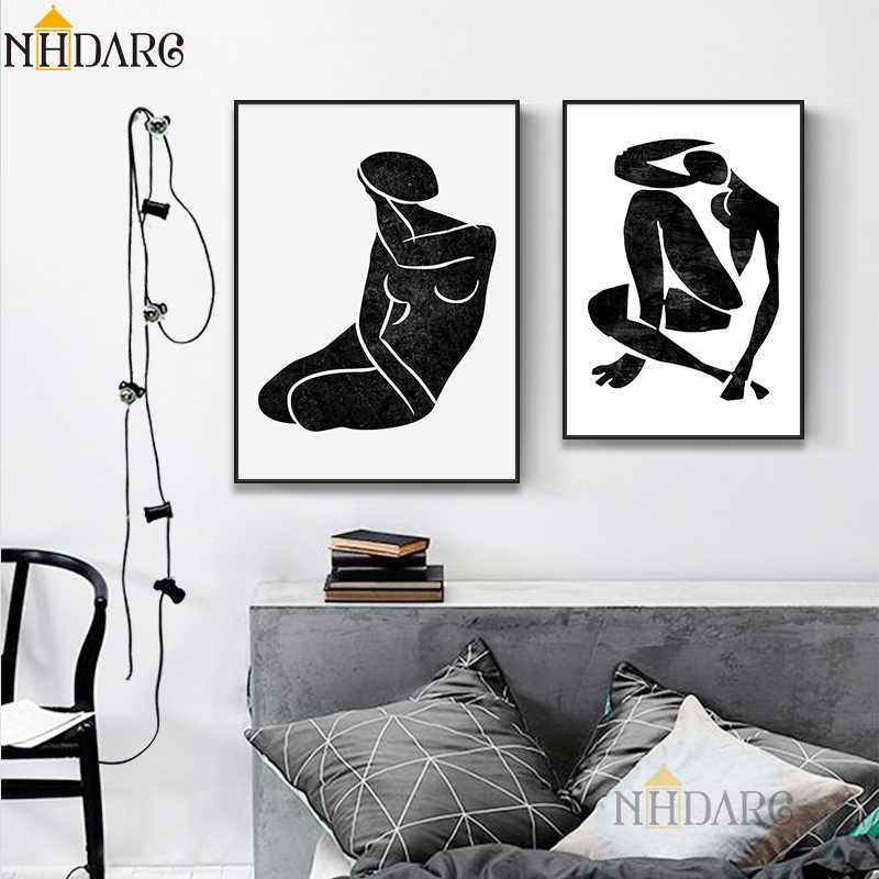 Matisse Black White Fashion Vintage Figure Sketch Canvas Painting Pop Art Print Home Decoration Wall Picture for Living Room