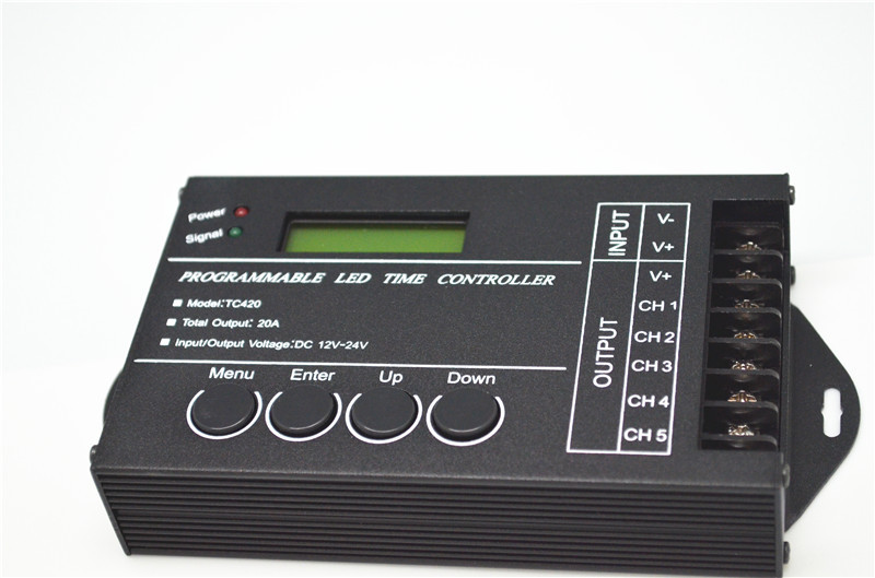 LED Time Dimmer RGB Controller TC420 DC12V/24V 5Channel Total Output 20A Common Anode Programmable Free Shipping mokungit 24ch easy dmx512 rgb decoder dimmer controller ws24luled dc5 24v 24 channel 8 group each channel max 3a