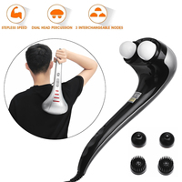 220V Double Head Hand Held Electric Body Massager Machine Variable 3 Massage Head Speed Control Neck Waist Shoulder Massager