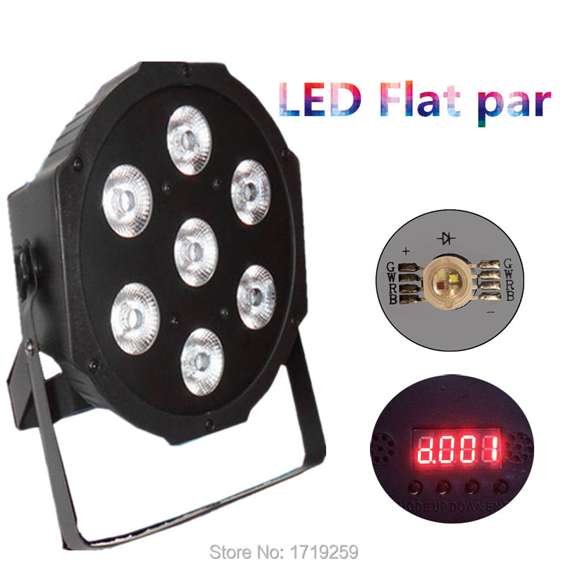 4pcs/lot LED Luxury DMX 8 Channels Led Flat Par Light 7x12W RGBW 4IN1 Fast Shipping  4pcs lot the brightest 4 8 dmx channels led flat par 18x12w rgbw 4in1 led par can light with power in power out