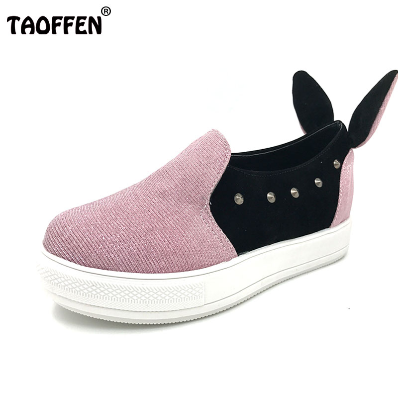 Фото TAOFFEN Ladies Sweet Heart Slip On Women Flats Shoes Spring Autumn Rabbit Ears Canvas Fashion Casual Girls Flats Size 30-44