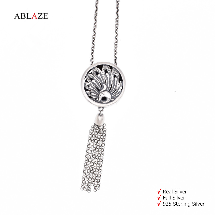 No Discount Quality 925 Sterling Silver Tassel Pendant Necklaces Long Tibetan Thai Nepal Antique Jewelry Women #nw007
