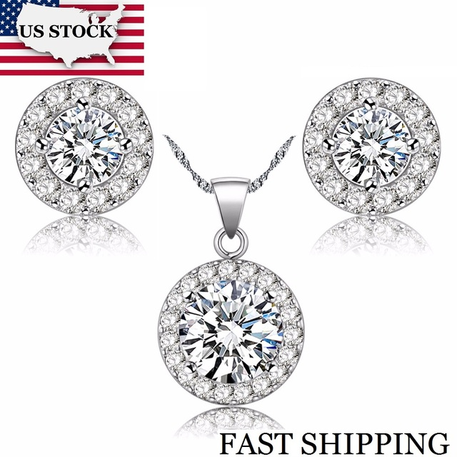 USA STOCK Uloveido Fashion Crystal Jewelry Set Silver Color CZ Necklace and Earrings for Women New Year Gifts for Girls JST001