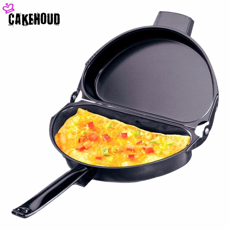 CAKEHOUD 1PC 23.5cm Portable Non-stick Omelette Folding Pot Stainless Iron Double Side Grill Pan Home Breakfast Production Tools