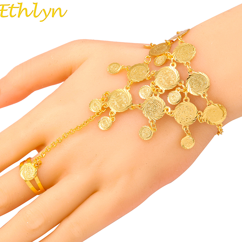 Ethlyn Bracelets For Women Round Metal Coin Middle East Islam Charm Bangles Female Luxury Traditional Jewelry Accessories Gift Bracelets & Bangles Jewelry & Accessories