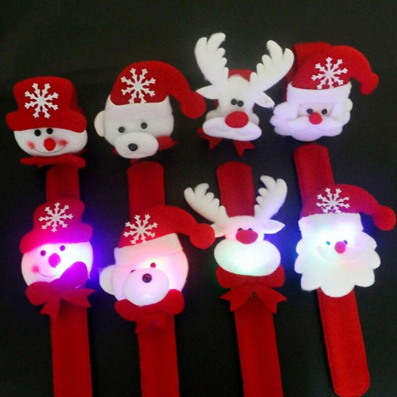Diligent Nouveau Noël Dessin Animé Bonhomme De Neige Ours Elk Père Noël Led Paillettes Lumineux Gifle Bracelet Bracelet De Noël Nouvel An Fête Décoration RafraîChissement