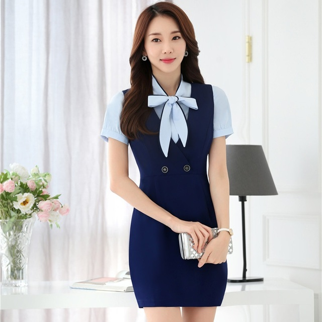 Formale OL Stile Sommer Anzüge Mit Bluse Und Kleid Für Damen Business  Frauen Blazer Büro Arbeit 69ad6135c2