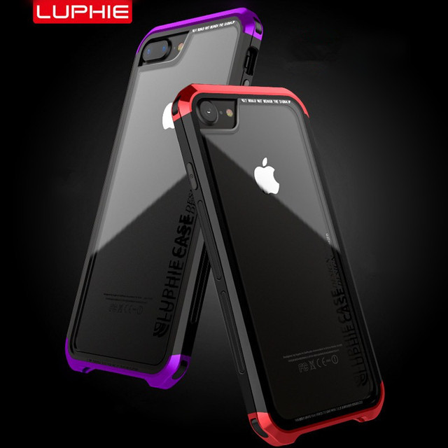 newest d69a9 580c0 US $14.39 28% OFF|LUPHIE Case For iPhone X 8 7 6 6S Plus Shockproof Metal  Bumper Clear Tempered Glass Back Cover For iPhone 6 6S Transparent Case-in  ...